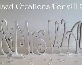 Personalised Mr and Mrs freestanding Wooden Sign + Surname - WHITE