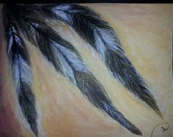 native american feathers painting