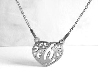 Elegant W Necklace, Letter W Heart, Letter Necklace W, Love Necklace Initial 925 Silver Necklace, Personalized Jewelry