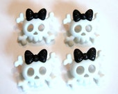 Skull Buttons Glitter Bow Color Black Orange Purple Halloween Girl Shank Set of 4 Jesse James Buttons Dress It Up Buttons Spooky Skulls Bows