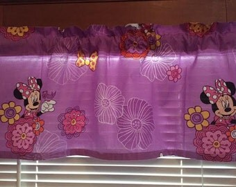 "Minnie Mouse Fluttery Friends Purple Window Valance ~ 41"" wide"
