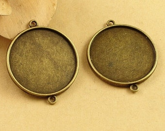 30mm Round Pendant Tray, Bezel Setting, 30mm  Cabochon Tray - Antique Bronze, Silver tone,Double Same Side,Two Loops