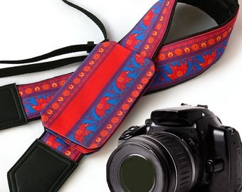 Elephant Camera Strap with pocket for caps and lenses. Bright Camera accessory. Photographer gift by InTePro