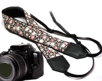 Flowers Camera strap.  Roses camera strap.  Black DSLR / SLR Camera Strap. Camera accessories.