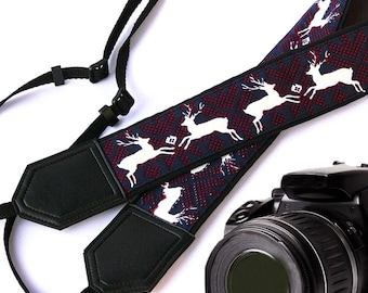 InTePro Deer Camera Strap. DSLR / SLR Camera Strap. Camera accessories. Photographer gift. X-mas strap.
