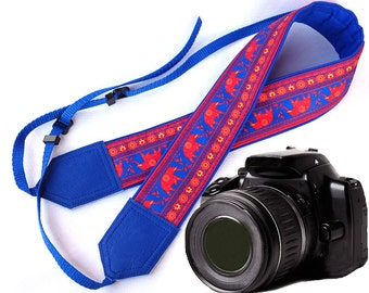 Blue DSLR / SLR Camera Strap. Lucky elephant Camera Strap. Camera accessories. Photographer gift by InTePro
