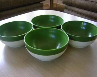 Raffiaware Set of 4 Green Bowls