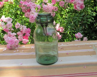 Old Preserves jar. Green glass