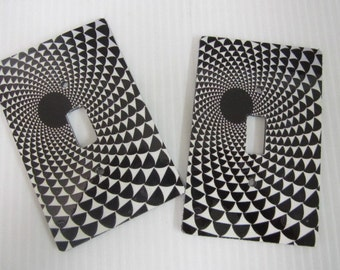 2 light switch covers, black and white swirl pattern design