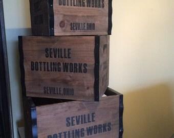 Vintage Ad Crates, set of 3 Seville Bottling Works, Seville Ohio