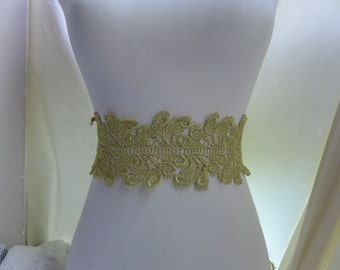 Gold thread embroidered lace trim in gold for wedding dress, gold sash, lace headband, costumes