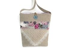 Linen crossbody bag, Lace cross body bag, Quilted handbag, Beige hand bag, Romantic lace purse, Boho Chic tote, French chic handbag