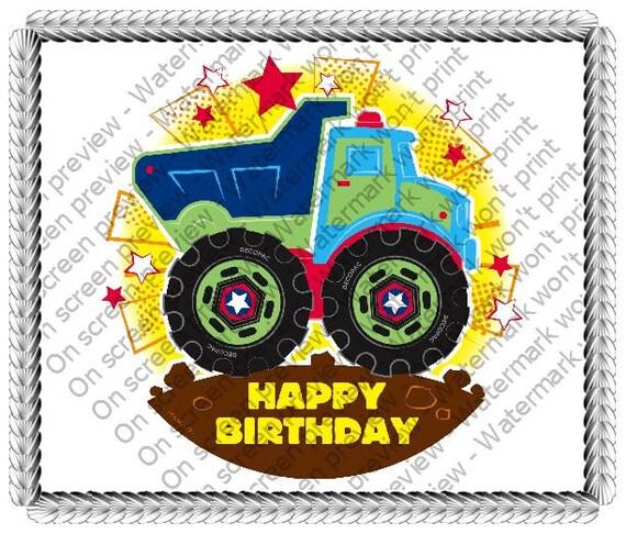 Happy Birthday Construction Dump Truck Edible Cake Or Cupcake