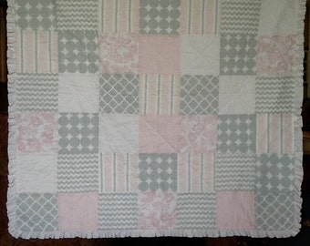 Handmade Baby Quilt With Ruffle - Pink and Grey