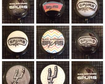 San Antonio Spurs ID Badge Name Tag Holder Retractable Reel Perfect For Nurse, RN, CNA, Teacher, Billard Player, Sports