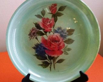Retro Reverse Decoupage Glass Plate