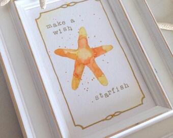 Starfish Nursery Art Starfish Beach Theme Nursery Art Nautical Nursery Starfish Make A Wish