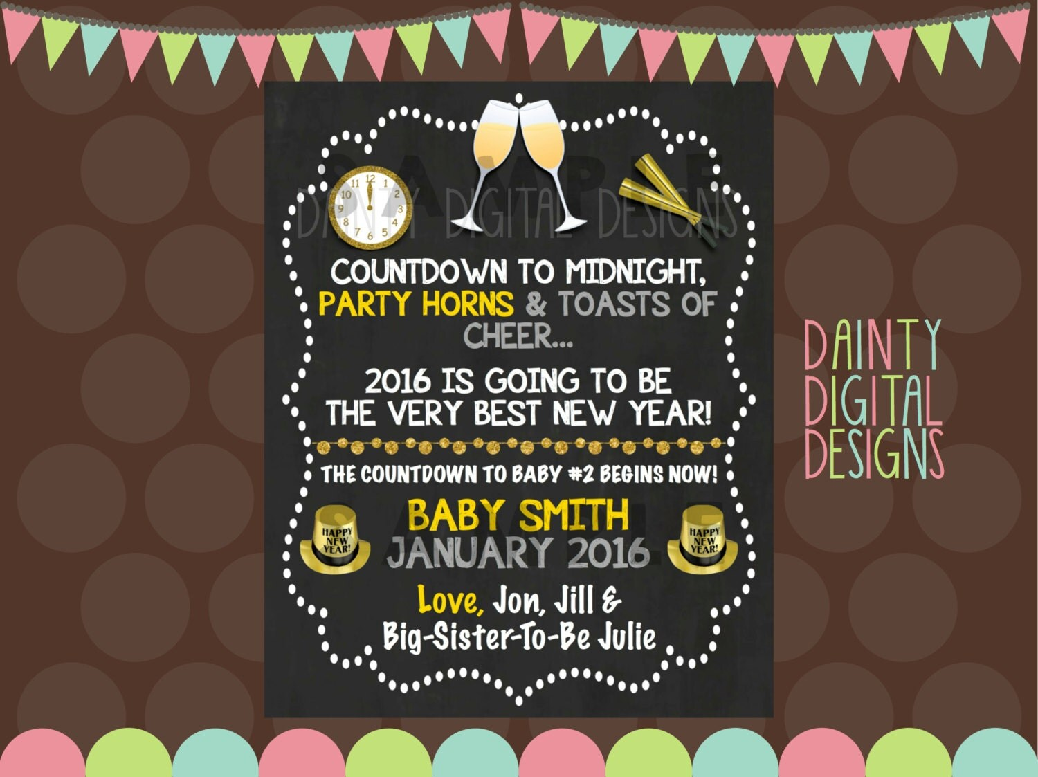 New Years Eve Pregnancy Announcement Printable 8X10 – New Years Birth Announcement