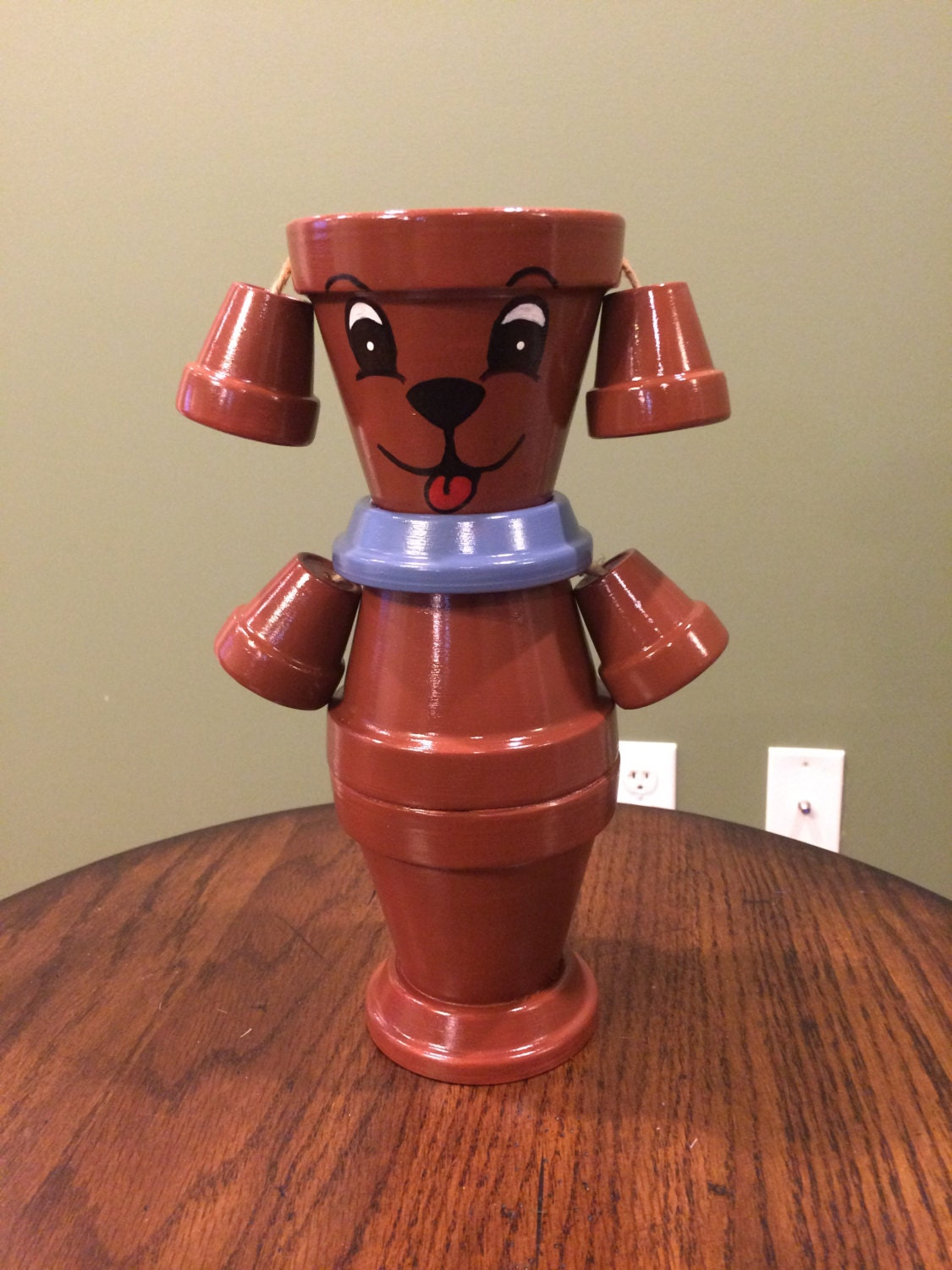 Flower pot dog pot person planter by rusticmtngirlcrafts for How to make clay pot people