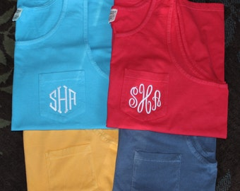 Comfort Color Pocket Tank/ Monogrammed/Bridesmaid Gift/ Beach Cover-Up