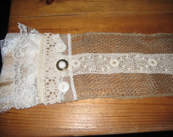 Burlap Table Runner with Vintage Lace, Tattered Fringe, Vintage Jewelry, Made to Order