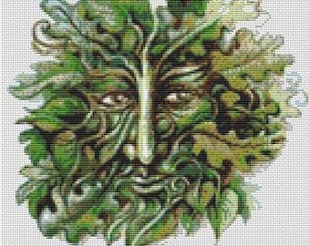 CROSS STITCH KIT - Green man  24cm x 25cm