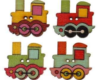 Wooden Train Design Sewing Buttons on a white background. 25 x 22mm. Ideal for children's clothes and baby wear. Scrapbook and Crafts