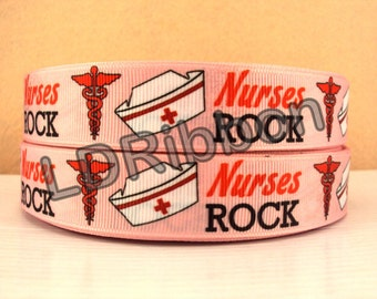 "7/8"" Nurses Rock Grosgrain Ribbon"