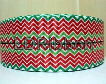 "7/8"" Christmas Chevron Grosgrain Ribbon"