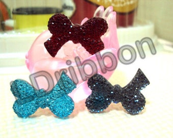 Glitter Bow Flat Back Resins (Set of 3)