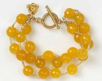 Yellow Jade and Gold Vermeil Bracelet