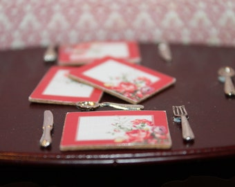 DOLLHOUSE MINIATURE Red Spotted Flower Placemats  X 6