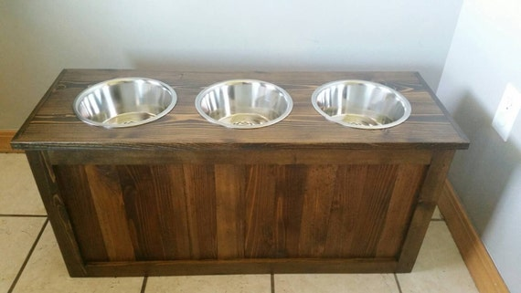 Raised Dog Feeder With Storage 3 Bowl Dog Feeder Pet Feeder