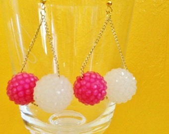 Pink and White Earrings with Gold Chain