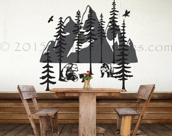 Family of bears wall decal, tree wall decal, mountian wall decal, forest wall decal, living room wall decal, bedroom wall decal, nature art