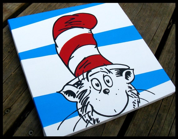 cat in the hat 12x12 dr seuss canvas wall art by blissfulbrush. Black Bedroom Furniture Sets. Home Design Ideas