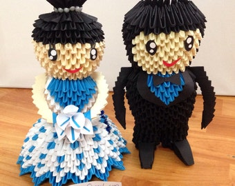 Groom and Bride - Blue Black Wedding Decoration - 3D Origami