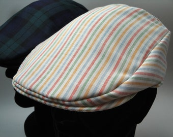 Flat Cap, Driving Cap, stripes in pastel shades.