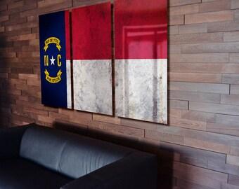 Triptych North Carolina State Flag hanging Rustic Worn Metal Wall Art Grunge