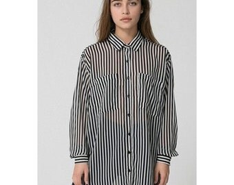 Unisex oversized chiffon stripe blouse