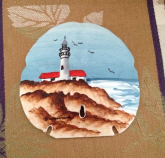 Hand Painted Lighthouse Sand Dollar Sand Dollar Lighthouse