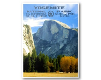 Yosemite National Park Travel Poster (Half Dome)