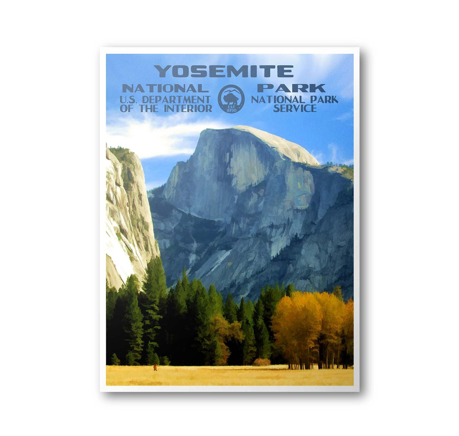 Yosemite National Park Poster Yosemite Valley: Yosemite National Park Travel Poster Half Dome