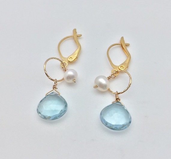 infant pearl earrings aquamarine with baby pearl earrings 18k gold fill findings 5938