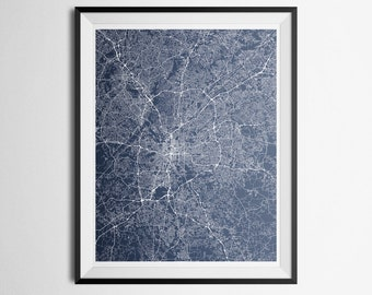 Map of the Atlanta, Georgia Metro Area Sandy Springs, Marietta Abstract Street Map Print