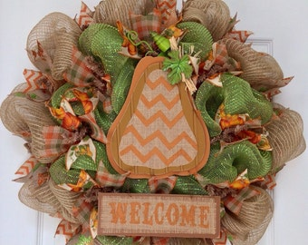 Country Chevron Gourd Welcome Harvest Wreath