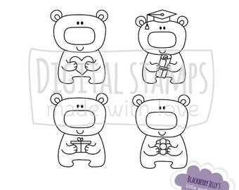Stack Of Tea Cups Digital Clip Art Coloring Stamps From