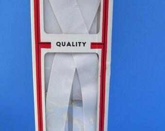 Vintage  White  Elastic  Adjustable  Suspenders    38'' long  NIP