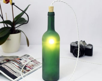 Green Wine bottle lamp. table light. Glass floor lighting