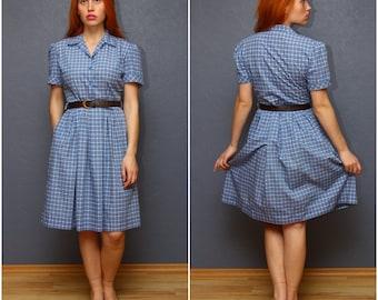 Vintage Checkered holiday - summer dress / short sleeve dress / Shirt dress / Medium size M